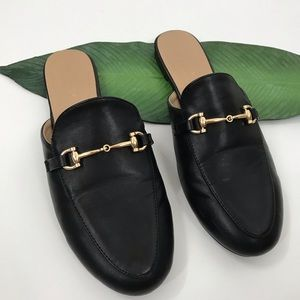 Black Slip Ons with Gold Horsebit Gucci Dupes